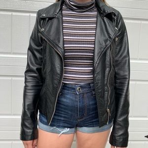Black faux leather pleather biker jacket